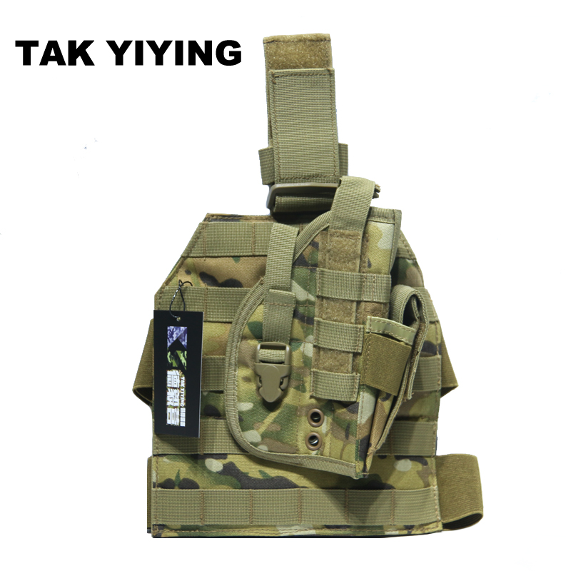 TAK YIYING Tactical Hunting Pistol Molle Drop Leg Stickers Design Nylon Platform Panel w/Pistol Holster Mag Pouch