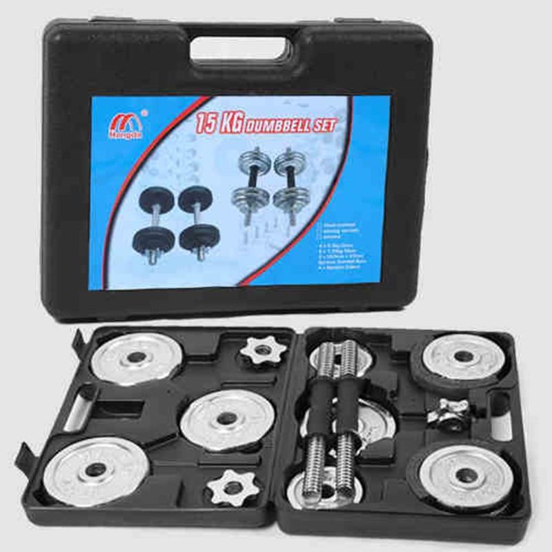 Fine haltère définit réglable haltère mercerisation tige placage haltère équipement de fitness avec boîte d'emballage 15/20 kg