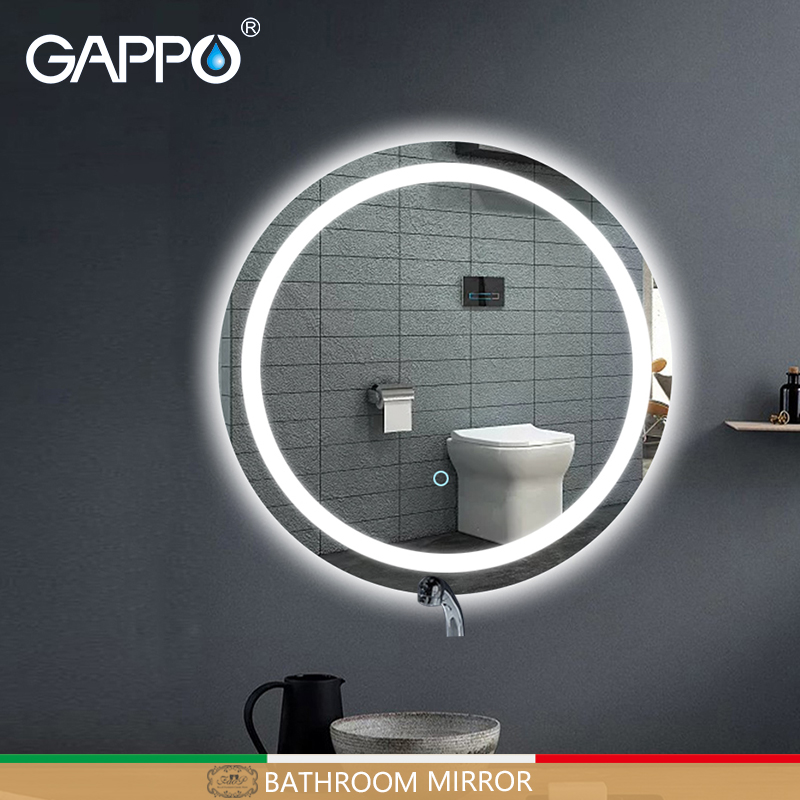 Gappo Bathroom Mirrors Round Led Cosmetic Mirror touch switch light adjustable wall mounted makeup mirror high definition silverGappo Bathroom Mirrors Round Led Cosmetic Mirror touch switch light adjustable wall mounted makeup mirror high definition silver