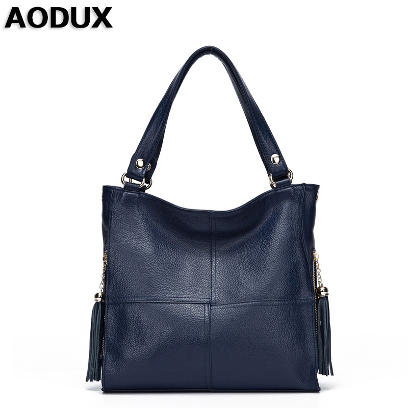 AODUX Top Genuine Leather Women Crossbody Shoulder Bags Female Handbags Real Leather Shopping Tote Messenger Bag Ladies Satchel classic women messenger bags genuine leather bucket crossbody shoulder handbags ladies top layer cowhide casual real skin 0102