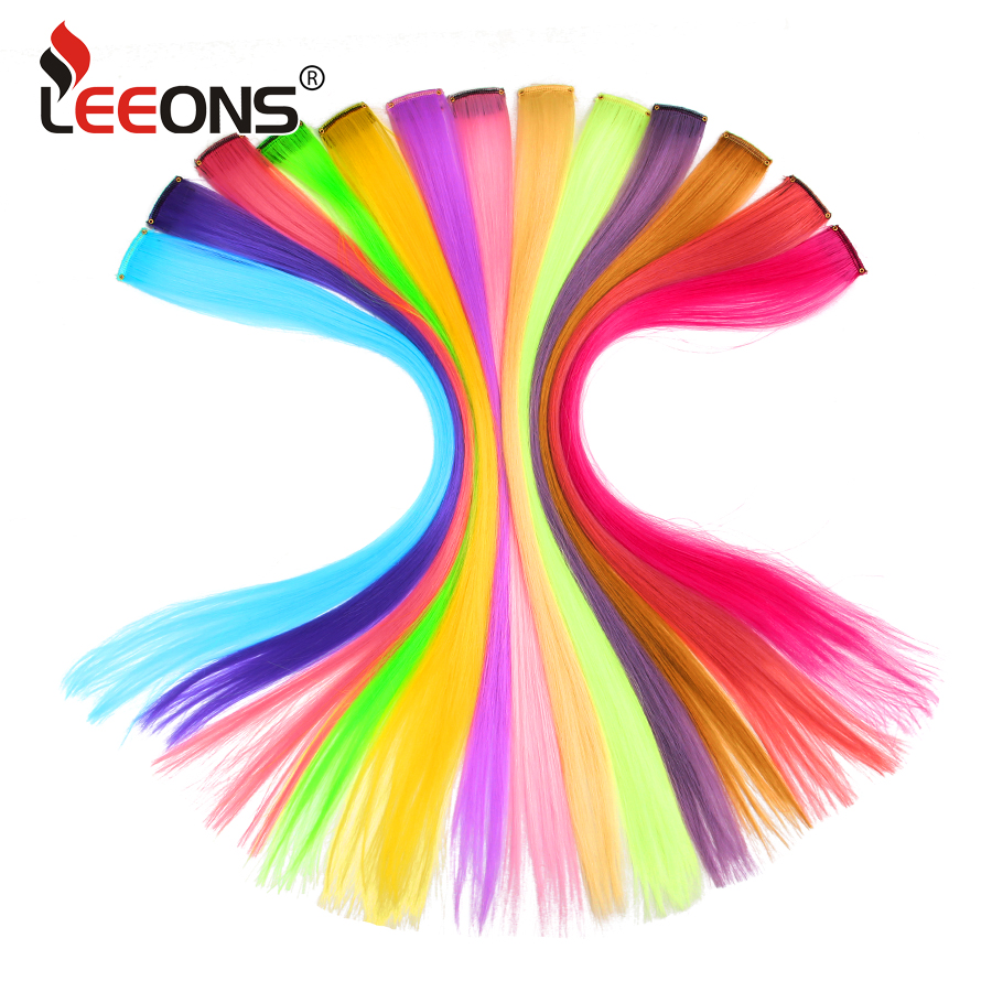 Leeons Colored Highlight Synthetic Hair Extensions Clip In One Piece Long Straight Hairpiece For Women Blue Brown 2 Tone Hair