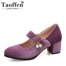 Taoffen الأزياء حذاء نسائي ذو كعب عالٍ الجلد المدبوغ مشبك الديكور جولة اصبع القدم مضخات اليومية مكتب الأحذية احذية نسائية حجم 34-43