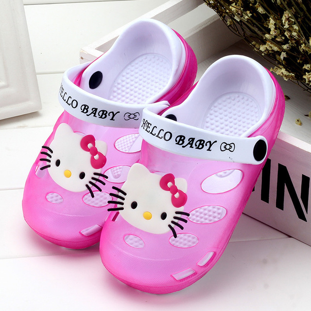 27dd19929 2019 Summer Baby Girl Sandals Shoes Children Hello Kitty Shoes Toddler  Girls Sandals Kids Slides Slippers Sandals EU 24-35 Soft