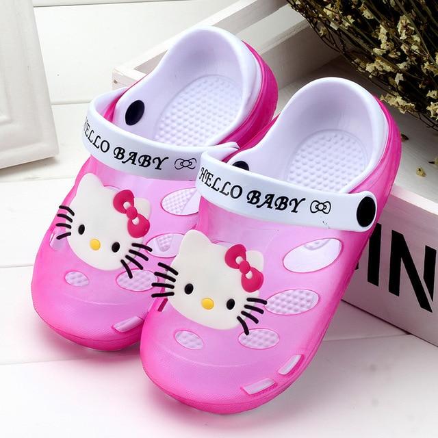 6c3836fbc937 2019 Summer Baby Girl Sandals Shoes Children Hello Kitty Shoes Toddler  Girls Sandals Kids Slides Slippers Sandals EU 24-35 Soft