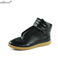 Brand Style Man Boots Fashion Stars Model High Top Shoes All Black Red Color New Men