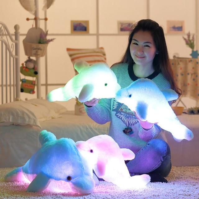 Свет Плюшевые Игрушки Дельфин Плюшевые Игрушки Чучела Животных Свет игрушки Светящиеся в Темных Throw Подушка Детские Игрушки Лучший Подарок Для девушка
