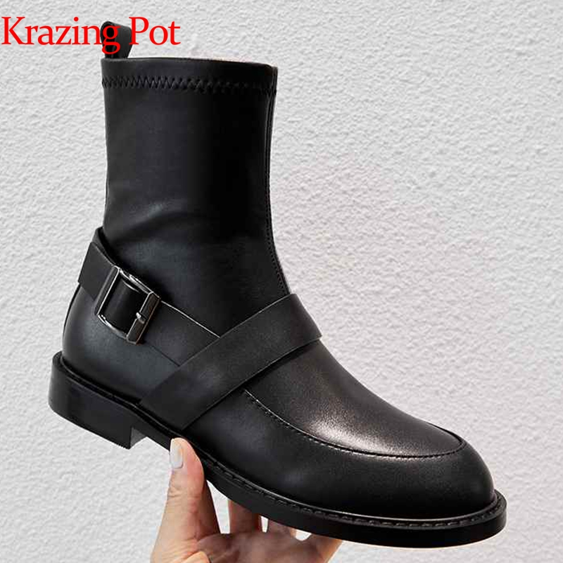 Krazing pot genuine leather buckle strap women brand ankle boots round toe British school young lady preppy Chelsea boots L09-in Ankle Boots from Shoes    1