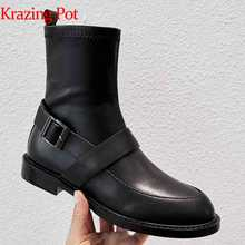 Krazing pot genuine leather buckle strap women brand ankle boots round toe British school young lady preppy Chelsea boots L09 - DISCOUNT ITEM  51% OFF All Category