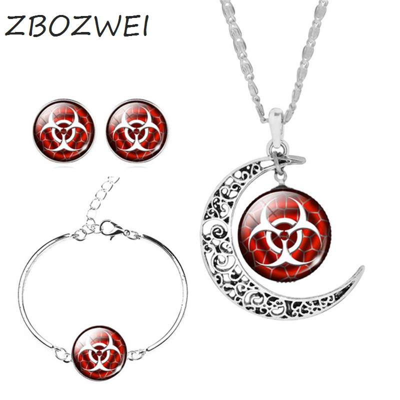 Zbozwei Danger Sign Jewelry Resident Evil Sets Earrings Bracelet Moon Statement Necklace Vintage Silver Color Women Gifts In From