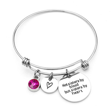 Not sisters by blood but sisters by heartZircon Bangle Fashion Pendant Bracelets Charms Bracelet For Women Friendship Gift trial by blood