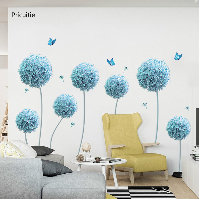 Us 13 5 Butterfly Flying In Blue Dandelion Bedroom Wall Stickers Pvc Diy Flowers Wall Decals For Living Room Bedroom Decoration In Wall Stickers