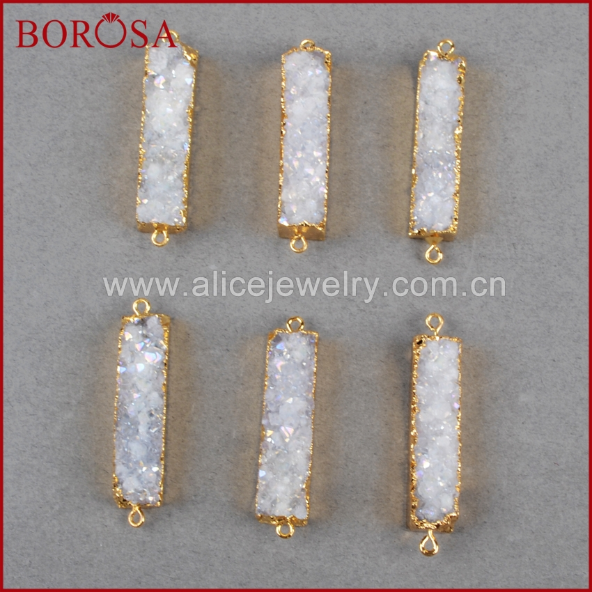 BOROSA Rectangle Natural Stone Titanium AB Druzy Charm Connector Stone Drusy Geode Gold Connector Pendant DIY Bracelet G0501-in Pendants from Jewelry & Accessories    1