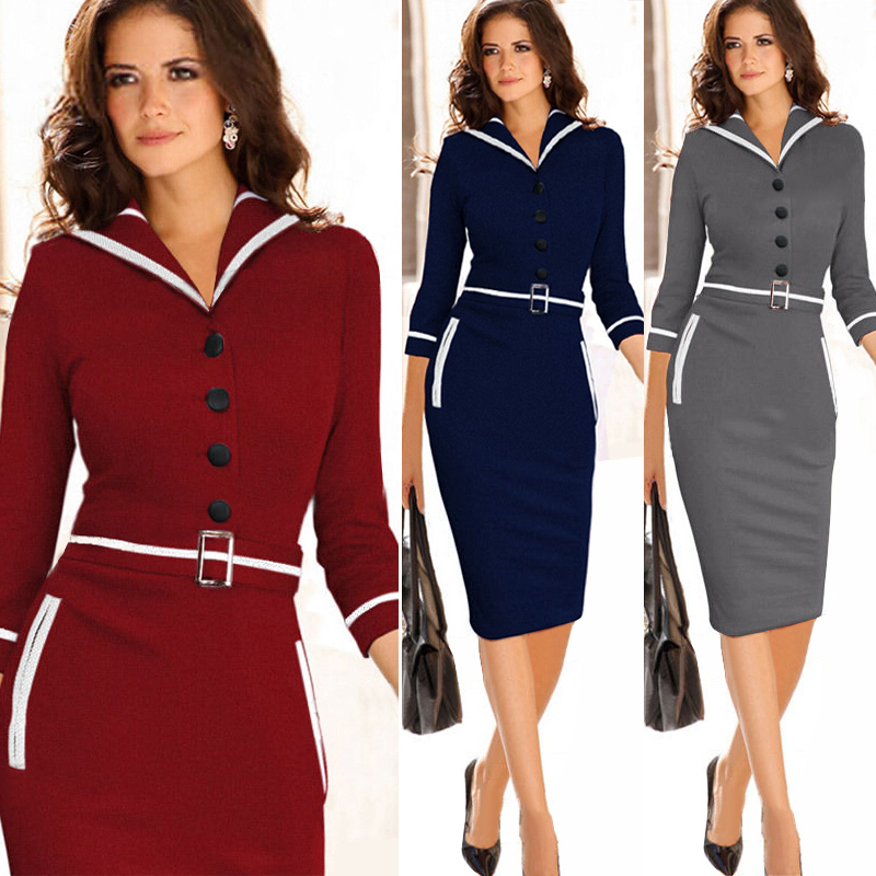 New 2015 Womens Celebrity Elegant Vintage Business Casual Cocktail