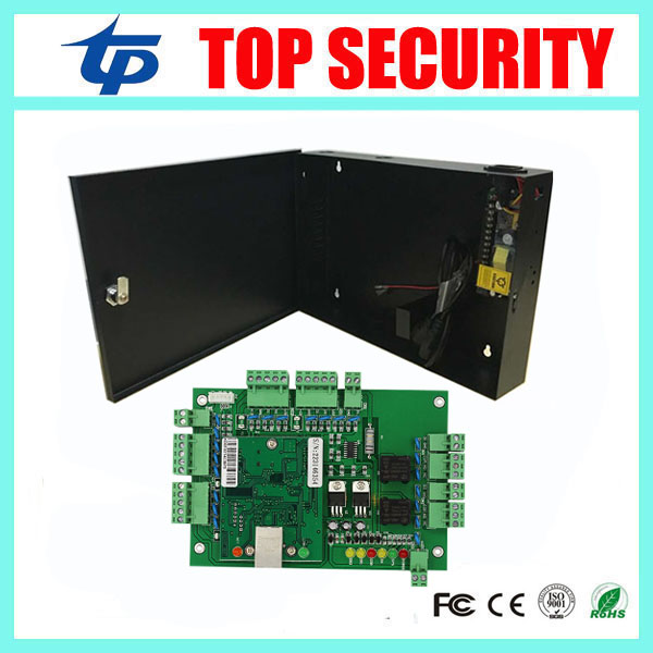 Two door access control panel access control board TCP/IP two doors access control system with power supply box battery function biometric fingerprint access controller tcp ip fingerprint door access control reader