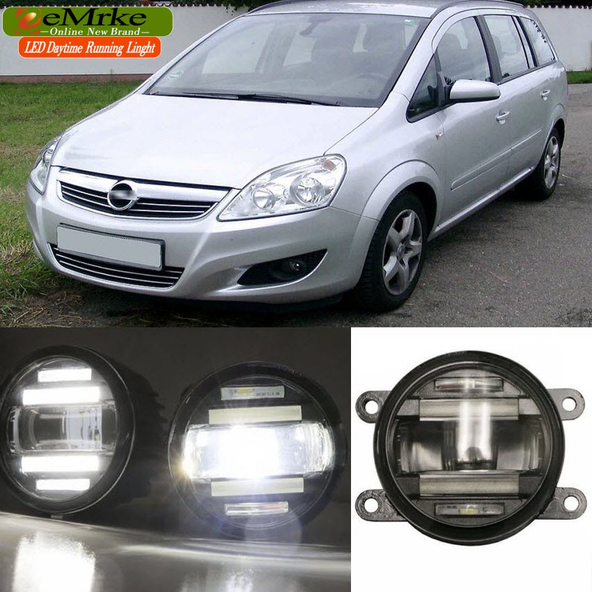 eeMrke Car Styling For Opel Zafira B C 2005-2014 2 in 1 LED Fog Light Lamp DRL With Lens Daytime Running Lights wireless control rgb color interior underdash foot accent ambient light for opel zafira a b c for chevrolet zafira tourer