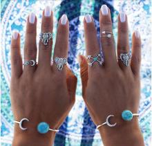Bohemian 6pcs/Pck Vintage Anti Silver Blue stone Elephants Rings Arrows Moon Lucky Rings Set for Women Party Free Shipping