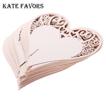 50 x Hot Place Cards Wedding Party Favor Wine Glasses Hollow Out Heart Lovely Iridescent Table Decor Name Cards Pink цена