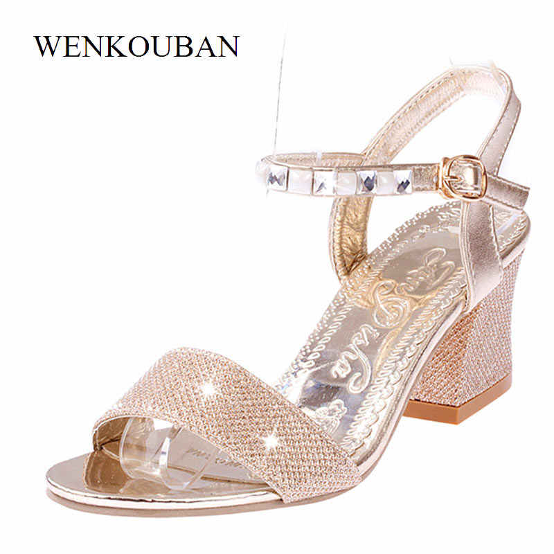 dec9fecf3e0b Detail Feedback Questions about Designer High Heels Sandals Women Silver Rhinestone  Sandals Sexy Summer Shoes Pumps Block Heel Ladies Gold Sandalias Mujer ...