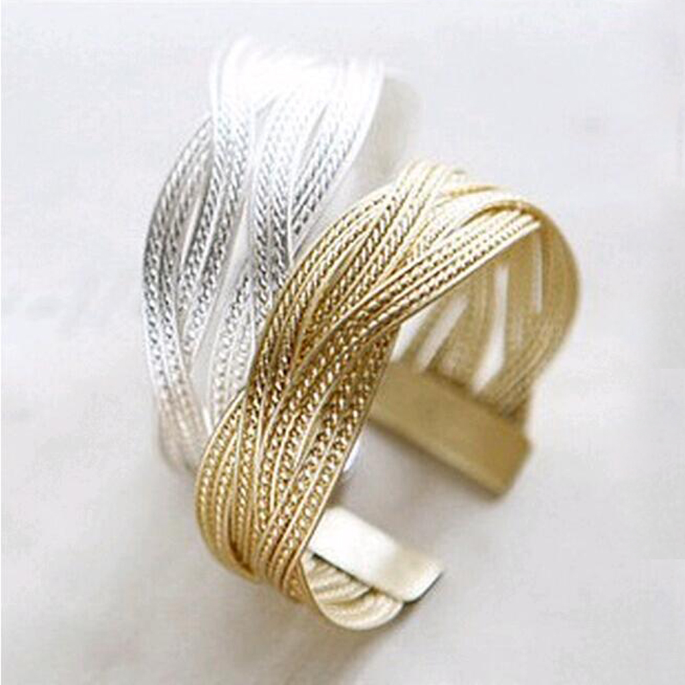 Hot sale fashon women knitted twisted metal rattan Bracelets & Bangles Femininas Alloy Wide Big Bangles For Women free shipping