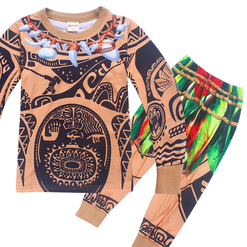 Kid Boys Winter Pajamas Moana Halloween Maui Costume Child Night Shirt Long Johns Cotton Sleepwear Long Sleeves Set for 4-10T