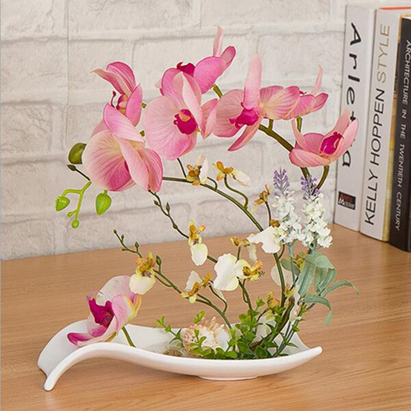 Wedding decoration high simulation Phalaenopsis suit plus the finished ceramic pots Phalaenopsis home decoration
