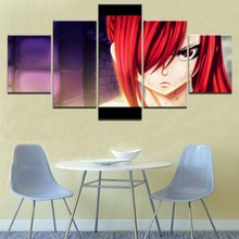 Erza Scarlet 5 Pieces Paintings on Canvas Wall Art Fairy Tail Anime Home Decor Living Room