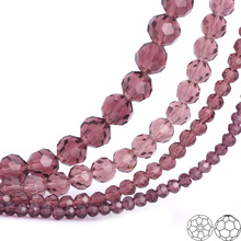 OlingArt 3/4/6/8mm Round  Glass Beads Rondelle Austria 32 faceted crystal purple color Loose bead DIY Jewelry Making