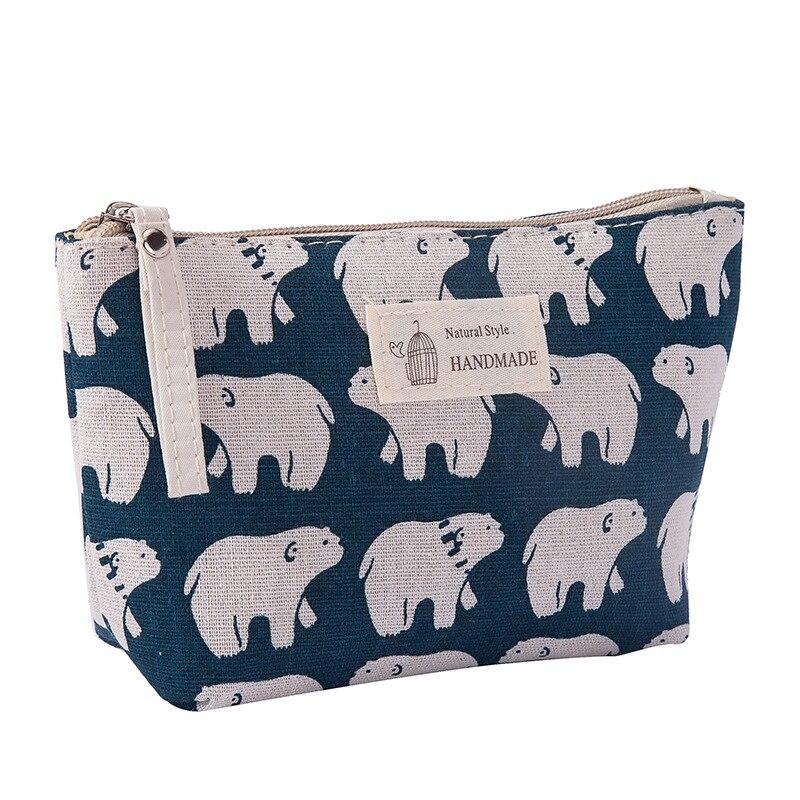 Canvas Cute Bear Women Makeup Bag Travel Zipper Make Up Storage Organizer Case Toiletry Portable Beauty Cosmetic Bag Wash Kit