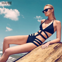 2017 Sexy Women High Waisted Cut Out Bandage/Bondage/Hollow Halter Black Swimwear/Swimsuit/Bikinis/Monokini