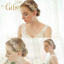 Free Shipping Clear Opal Crystal and Rhinestone Wired Gold Wedding Hairband Bridal Headpieces Side Accessories