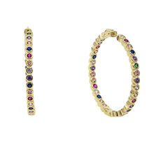 2018 hot selling Popular Earrings With rainbow cz Circle Earrings Simple Earrings Big Circle Gold Color Hoop Earrings For Women(China)