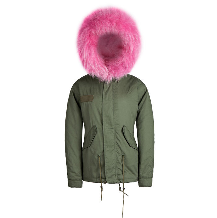 Parka jacket with pink hood