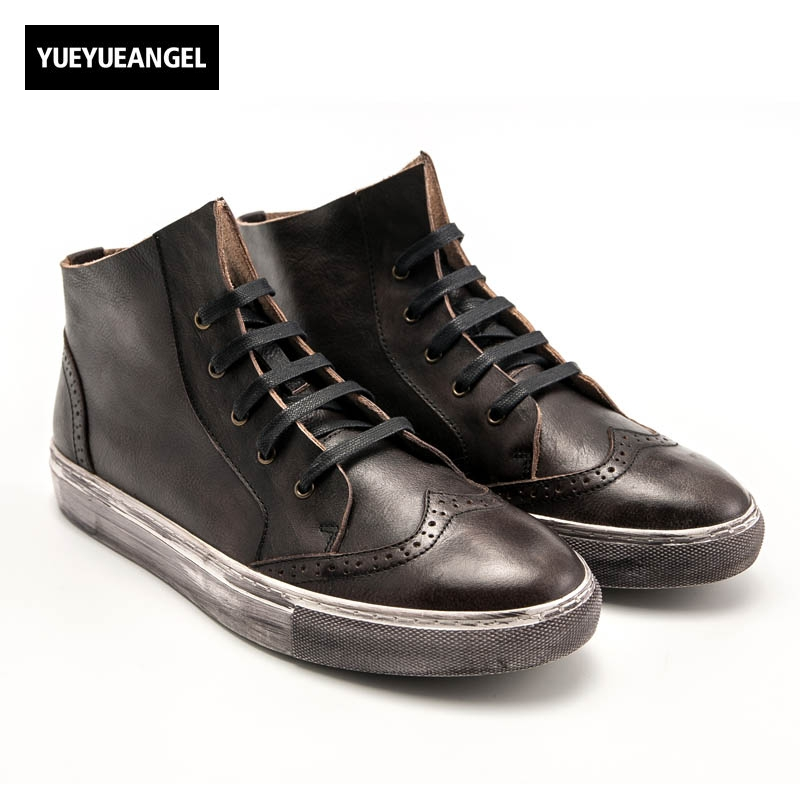 Vintage Retro Men Genuine Leather Cow Breathable Lace Up Round Toe Wing Tip Male High Help Sapatos Masculino Black Coffee 2017 england style men genuine leather cow new fashion lace up breathable casual shoes male vintage match color black coffee