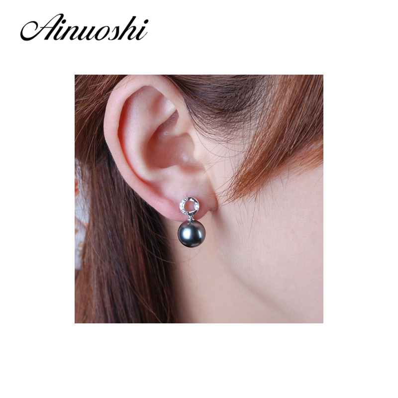 e33c34894 Aliexpress.com : Buy AINUOSHI Natural South Sea Black Tahiti Pearl 9.5 10mm  Round Pearl Stud Earrings 925 Sterling Silver Women Stud Earrings Jewelry  from ...