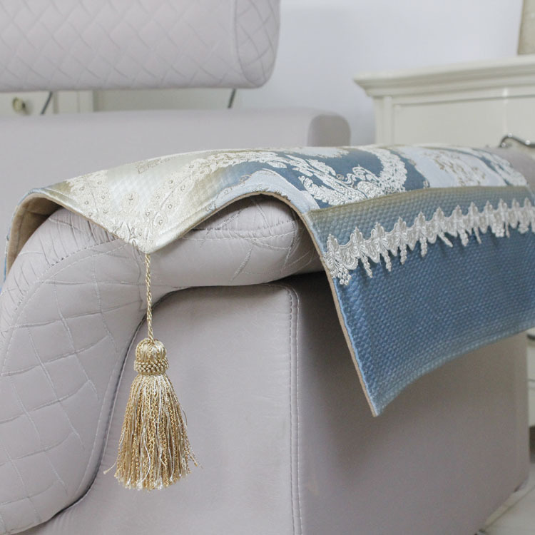 stylish sofa arm covers | High quality europe style blue lace sofa arm rest with ...