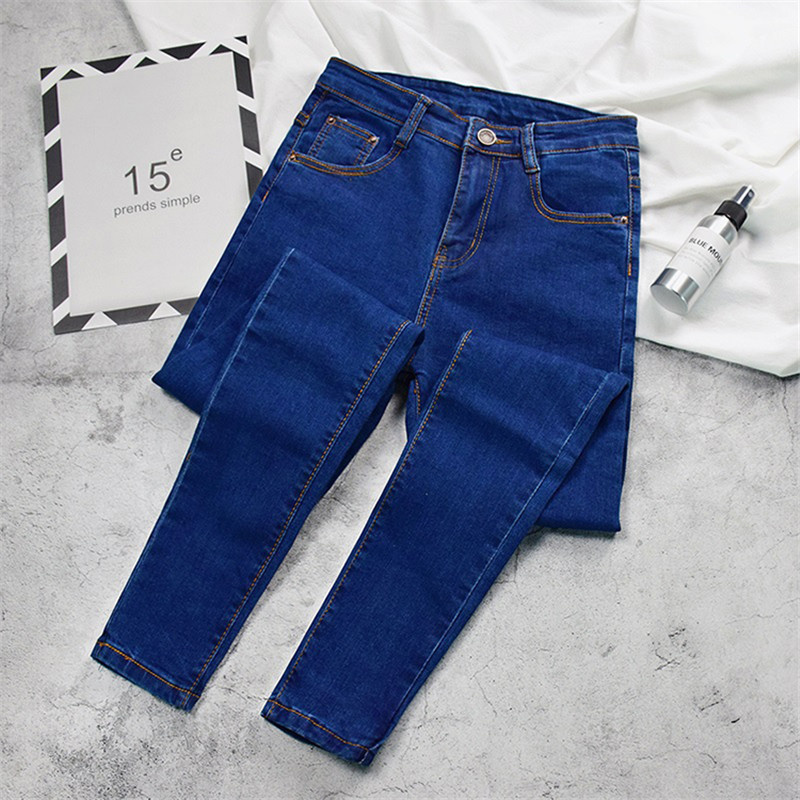 2019 New Women Black Jeans High Waist Jeans Fashion Plus Size Stretch Jeans Female Washed Denim Skinny Cowboy Pencil Pants R246