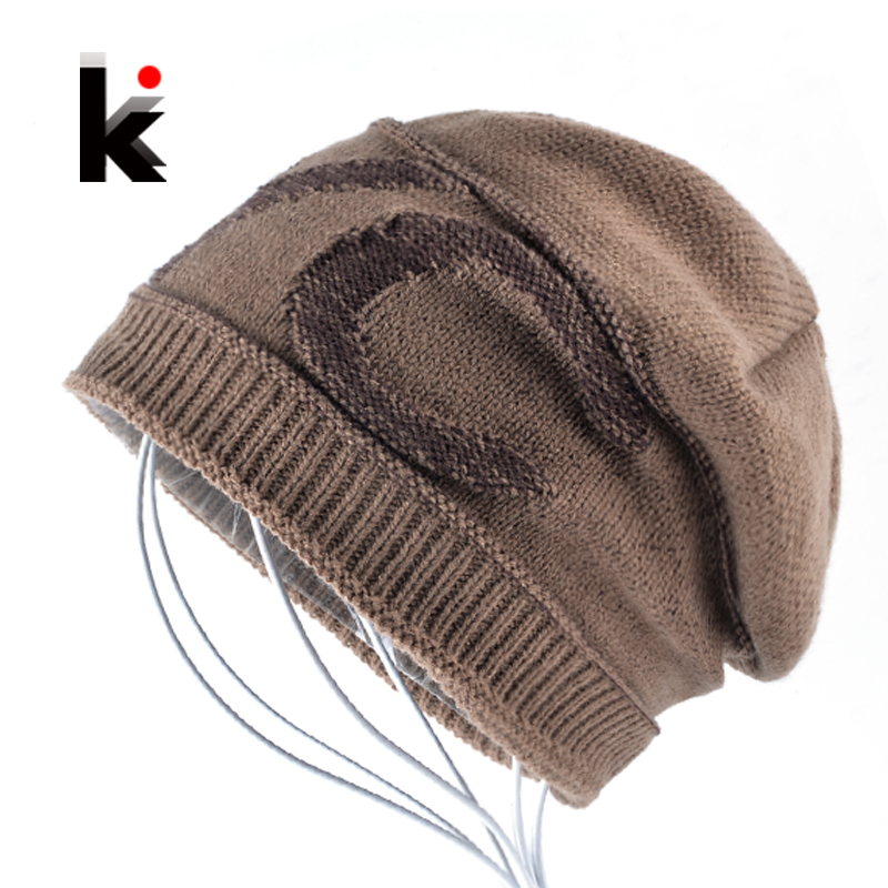 Knitted Beanies Mens Winter Thick Add Velvet Bonnet Hat For Men Knitting Letter Skullies Cap Women Hip Hop Bone Gorros Boys stand collar zip up pleuche quilted jacket