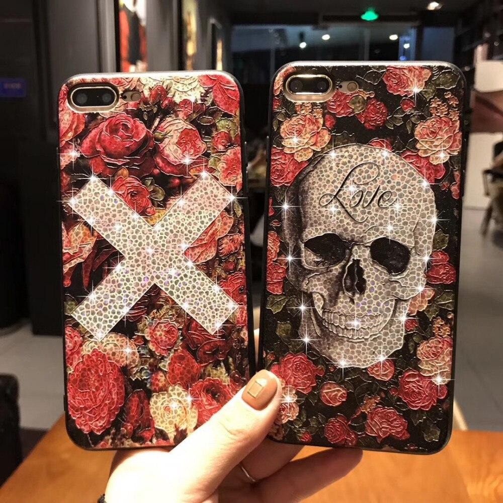 Halloween Ghost Glitter Bling Flower Case For iPhone 7 6S