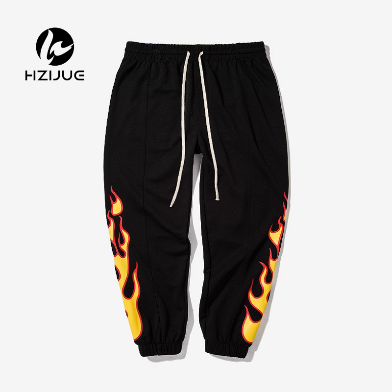 2018 Autumn Streetwear Fashion Hip Hop Pants Flame Print Women Men Red Black Blue Joggers Pants Skateboard Sweatpants 3 Color