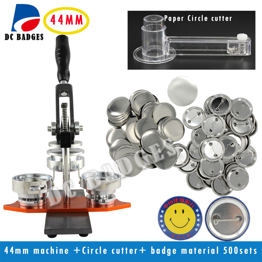 New Good Quallity Factory Directly Selling 1 3/4 44mm Button Maker Machine +Circle Cutter+500 Sets Metal Pinback Supplies