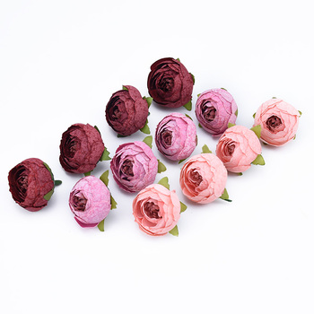 10pcs Decorative flowers wall wedding bridal accessories clearance diy gifts box artificial flowers scrapbooking silk tea roses 1