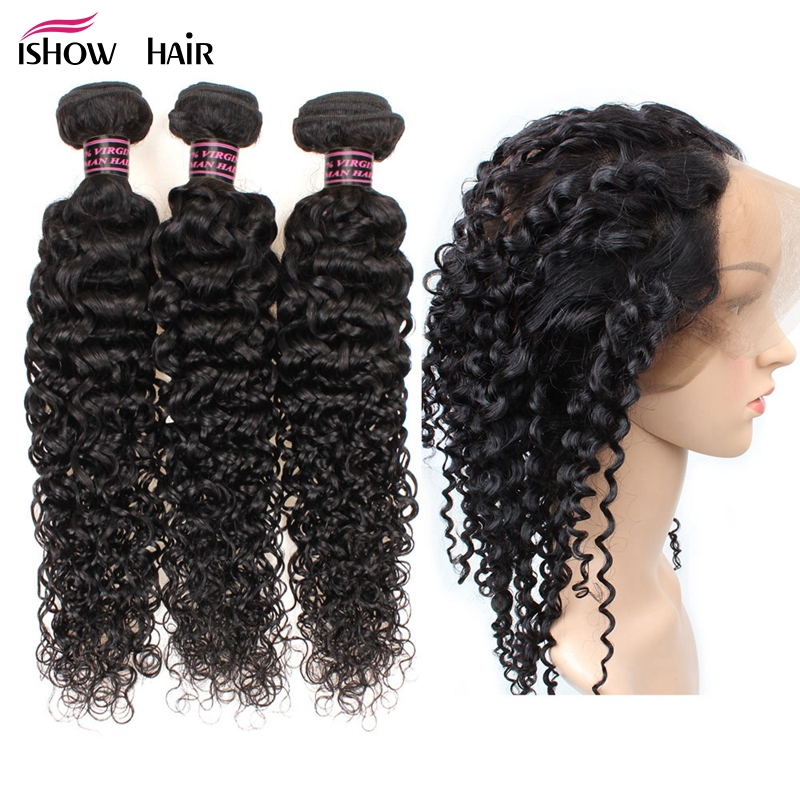 Ishow Indian Kinky Curly Human Hair 3 Bundles With 360 Lace Frontal Baby Hair Pre Plucked Afro Kinky Curly Closure Non Remy
