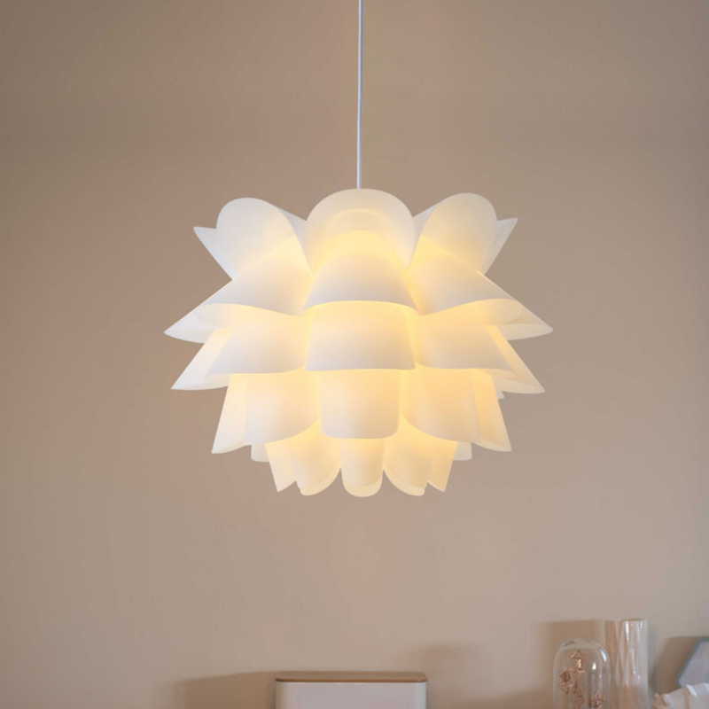 Art DIY Lotus Flower Lamp Shade Modern Pendant Light Shade White Warm Yellow Lamp Shade Hanging Lamp Room House Home Decoration