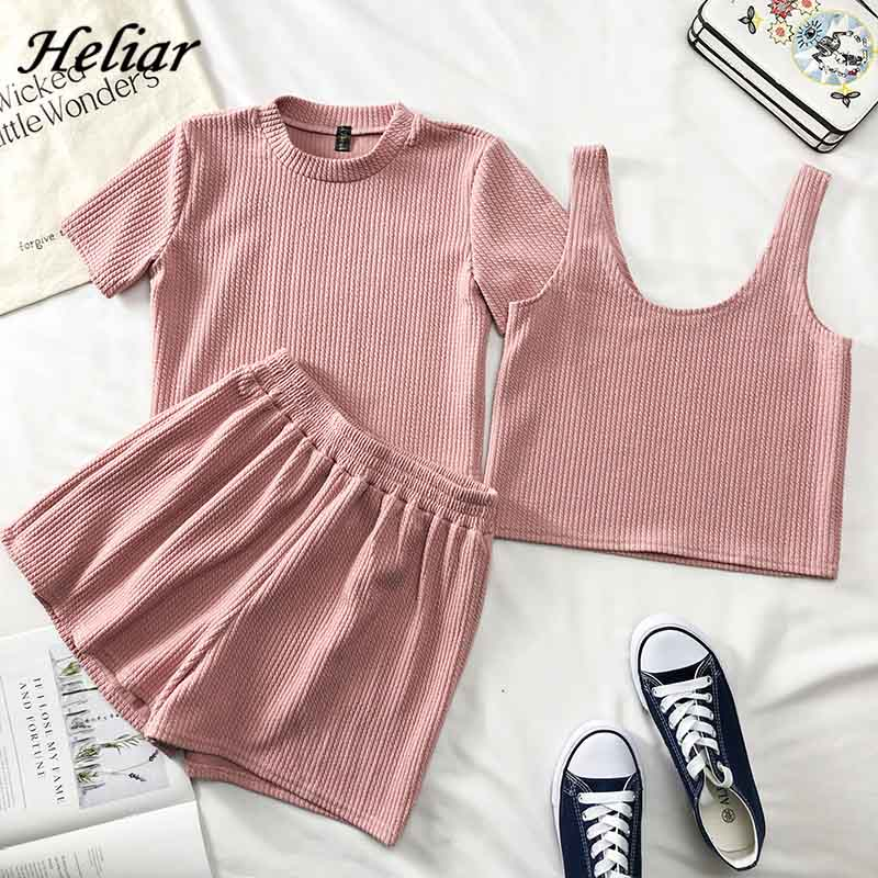 Heliar Pink O-Neck T-Shirt And Shorts And Camis Women Three Pcs Sets Pants Sets Femme Female Outfits 2019 Summer Suits Women
