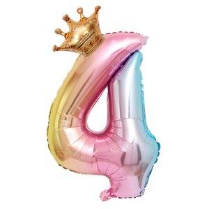 Image 4 - 大 32 インチヘリウム空気桁図ビッグクラウン番号箔バルーン誕生日パーティーの装飾