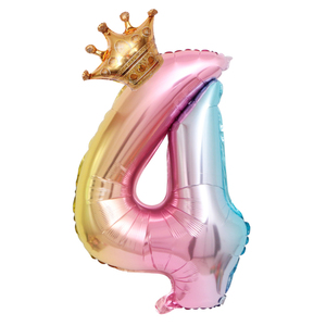 Image 4 - Large 32inch Helium Air Digit Figure Big Crown Number Foil Balloon Birthday Party Decorations Kids