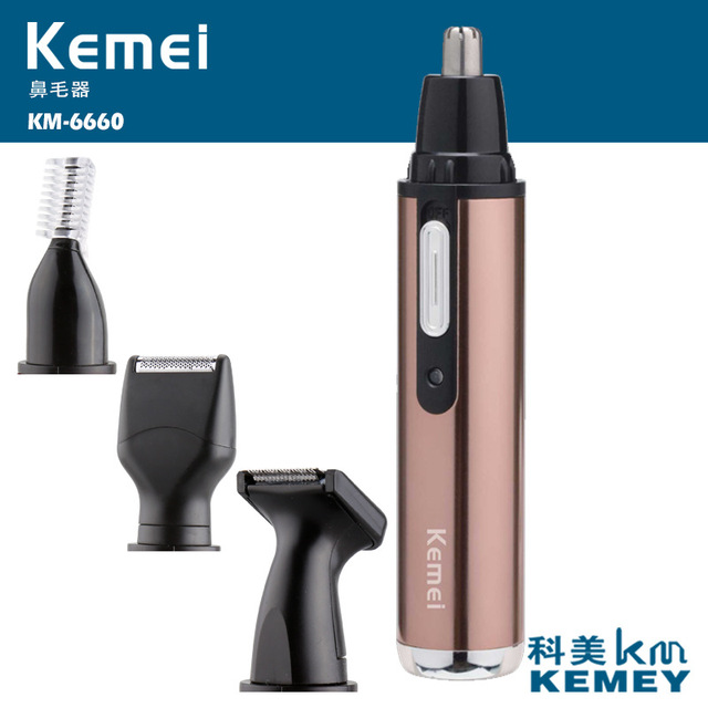 T142 kemei 4 in 1 electric nose trimmer rechargeable women face care beard shaver for nose & ear men's ear nose hair cutter