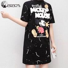 2019 Summer Mickey Dress Women Plus Size M-4XL Short Sleeve Cute Cartoon Casual Mouse Streetwear Loose Girl Dresses