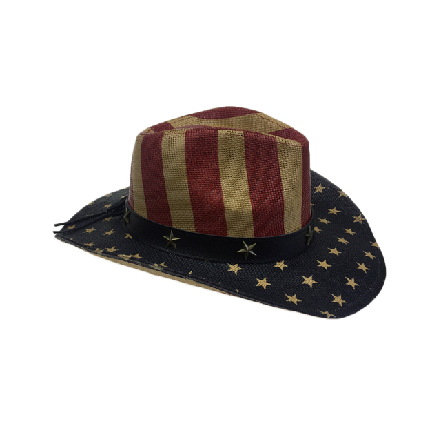 Special American Flag Star Cowboy Hat For Men Summer Beach CAP Wide Brim Straw Cowboy Western Word Cowgirl Sun Visor Hat YY18046