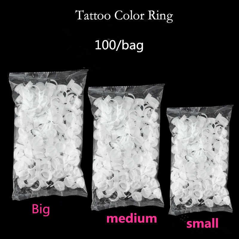 100 шт Пластиковые чернила для татуажа, кольца для бровей, Перманентный макияж, все размеры, белые Держатели Чернил для татуажа, аксессуары для татуажа, поставка тату